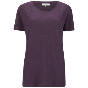 IRO Women's T-Shirt with Holes - Dark Purple