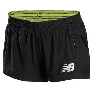 New Balance Women's NBX Boylston Split Shorts - Black/Lemon