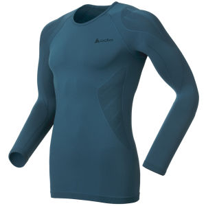 Odlo Men's Evolution Light Long Sleeve Crew Neck Base Layer - Blue/Black