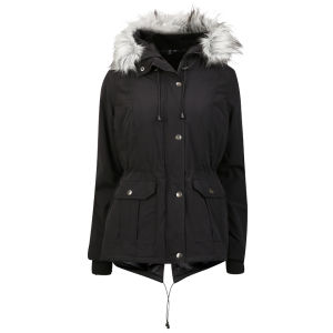 Arctic Story Women's Fur Trim Parka - Black