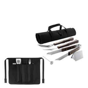 BBQ Set in Foldable Apron - Black