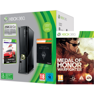 Xbox 360 250GB Holiday MOH Bundle (Includes Medal of Honor: Warfighter, Forza 4 'Essentials Edition', Skyrim 'Live DLC', 1 Month Xbox Live)
