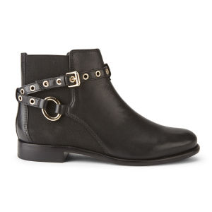Diane von Furstenberg Women's Rikki Leather Ankle Boots - Black Waxy Calf