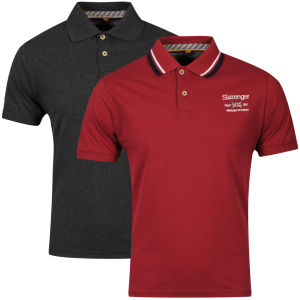 Slazenger Men's 2-Pack Polo Shirts - Berry/Black Marl
