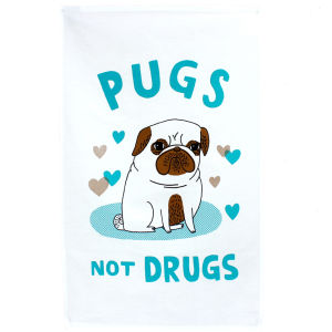 Pugs Not Drugs Gemma Correll TDF Tea Towel