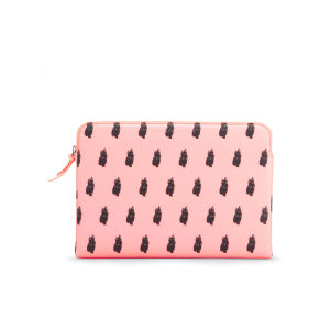 Marc by Marc Jacobs Printed Cat 13 Inch Zip Laptop Case - Fluoro Coral