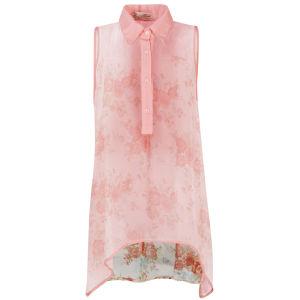 Nova Women's Sleeveless High Low Floral Back Chiffon Shirt - Pink