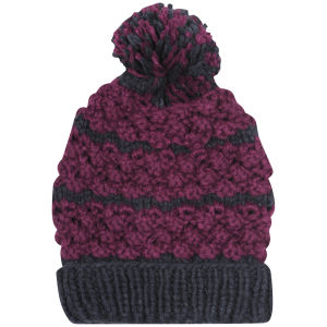 Women's Two Tone Bobble Knit Beanie - Navy & Purple
