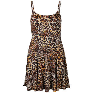 Brave Soul Women's Strappy Leopard Print Skater Dress - Stone