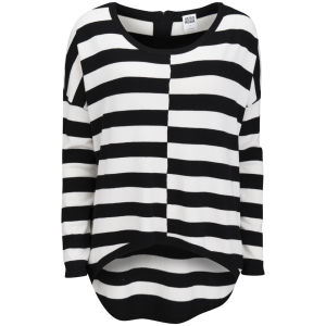Vero Moda Women's Stripe Dip Hem Jumper - Black