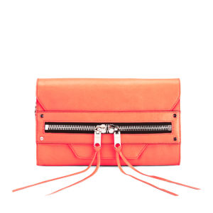 MILLY Women's Riley Hand Through Leather Clutch Bag - Neon Peach