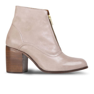 H by Hudson Women's Piper Leather Heeled Ankle Boots - Taupe