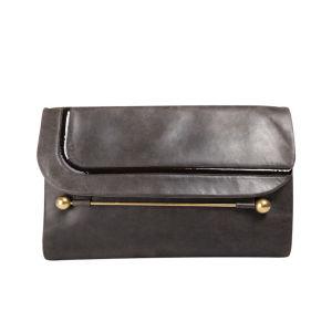 Rupert Sanderson Clio Large Leather Clutch - Grey/Dark Brown Patent Trim