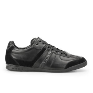 BOSS Green Men's Aki Leather/Suede Trainers - Black