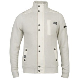 Brave Soul Men's Heavy Knit Phonic Cardigan - Off White