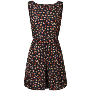 AX Paris Women's Bird Print Skater Dress - Navy