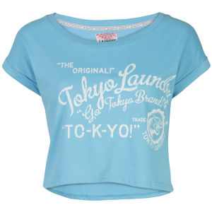 Tokyo Laundry Women's Cropped Collegic T-Shirt - Bright Blue