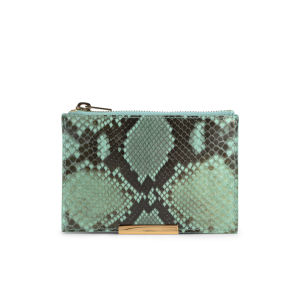 Sophie Hulme Small Zip Snake Leather Pouch Wallet - Fluro Green