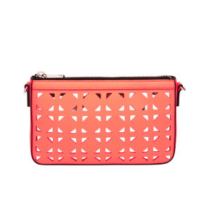 MILLY Palmetto Perforated Leather Small Cross Body Bag - Neon Peach