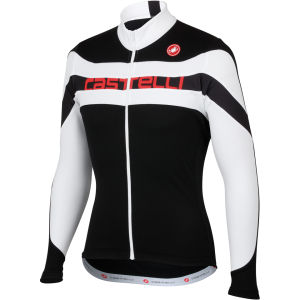 Castelli Giro Long Sleeve Full Zip Jersey - Black/White/Red Text