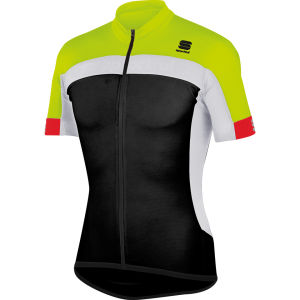 Sportful Pista Short Sleeve Jersey - Black/Yellow/White