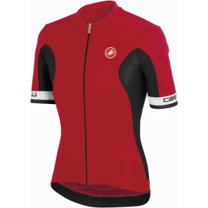 Castelli Volata Full Zip Short Sleeve Jersey - Red/Black/White