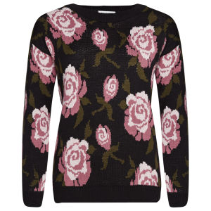 Moku Women's Rose Floral Print Long Sleeve Jumper - Black