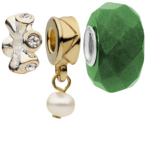 Amadora Crystal and Pearl Pack of Three Charms Set