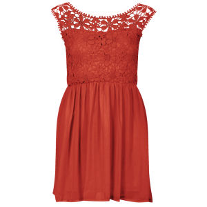 Club L Women's Floral Crochet Skater Dress - Cherry