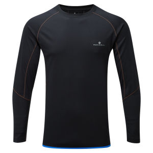 RonHill Men's Advance Long Sleeve Running T-Shirt - Black/Orange