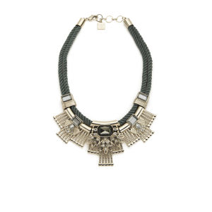 Kardashian Kollection Braided Cord Collar Necklace - Light Grey
