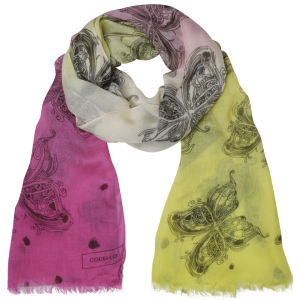 Codello Women's Butterfly Ombre Long Scarf - Pink/Yellow