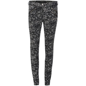 Maison Scotch Women's Zip Pocket Mid Rise Skinny Jeans - Black