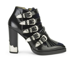 Toga Pulla Women's Velvet/Leather Buckle Heeled Ankle Boots - Black/Navy