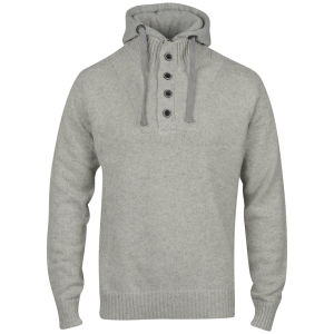 Brave Soul Men's Hooded Knitted Bataille Jumper - Mid Grey Marl