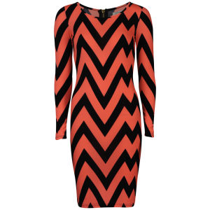 Glamorous Women's Neon Printed Zig Zag Midi Dress - Pink/Navy