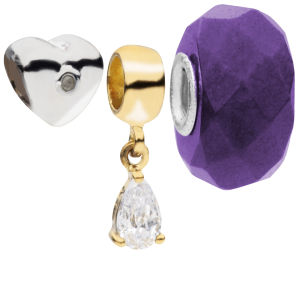 Amadora Silver Heart And Crystal Beads Pack of 3 Charms Set