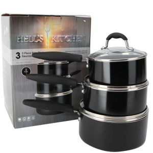 Hell's Kitchen Eclipse 3pc Black Aluminium Non Stick Pan Set