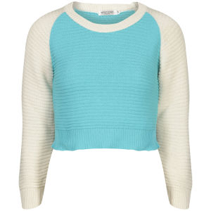 Moku Damen Raglan Sleeve Colour Block Strick Pullover - Minze/Weiss