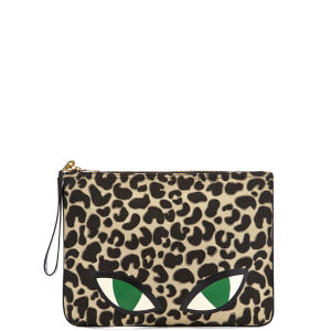 Lulu Guinness Wild Cat Print Large Hug'n'Hold Clutch - Black/Stone