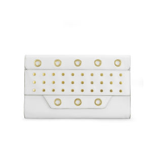 MILLY Kent Eyelet Stud Leather Clutch Bag - White