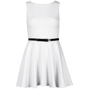 Influence Women's Belted Scuba Skater Dress - White