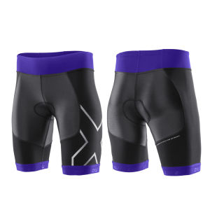 2XU Women's G:2 Compression Triathlon Shorts - Black/Purple Hue