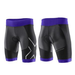 2XU Women's G:2 Compression Triathlon Shorts - Black/Purple Hue