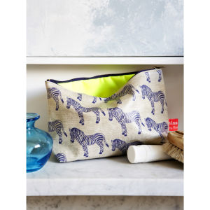 Bianca Hall Zebra Washbag - White/Blue