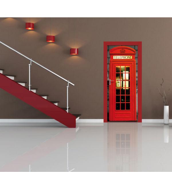 London Phone Box Door Mural