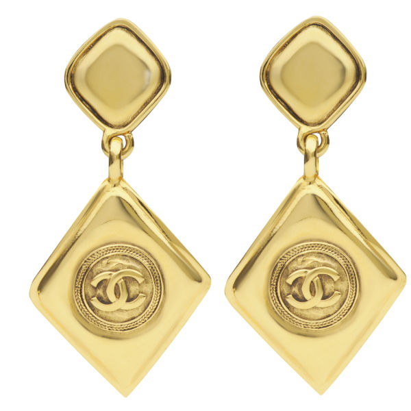 Susan Caplan Vintage Chanel Gilt Metal Diamond Drop 'CC' Logo Earrings