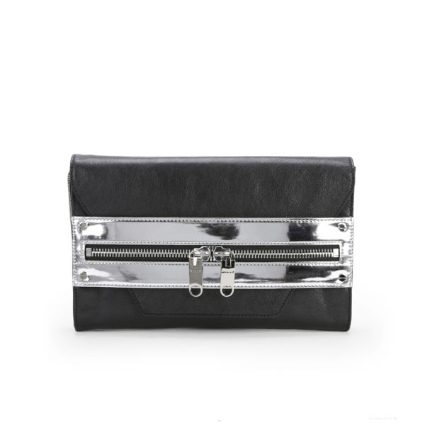 MILLY Riley Hand Through Hologram Strap Leather Clutch Bag - Black