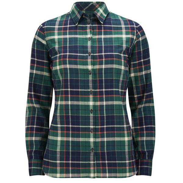 Barbour international women 39 s iris checked shirt green for Womens green checked shirt