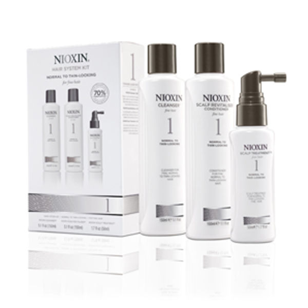 NIOXIN Hair System Kit 1 for Normal to Fine Natural Hair (3 Products)